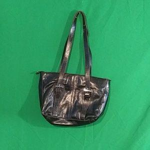 Etienne aigner spacious black leather handbag